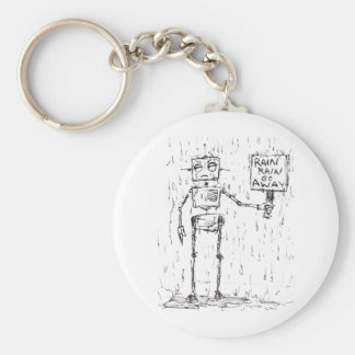 Rain Rain Go Away Basic Round Button Key Ring