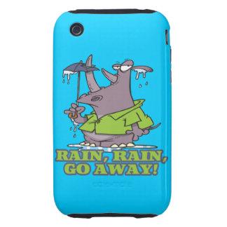 rain rain go away funny rhino april showers blues tough iPhone 3 case