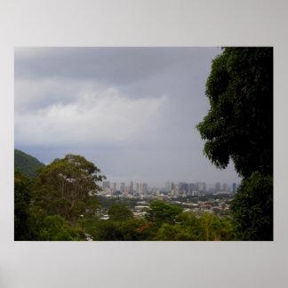 Rain Storm Approaching Waikiki Poster