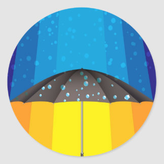 Rain storm on a sunny day round sticker