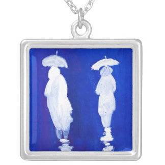 Rain Walkers painting in acrylic by Kay Gale Silver Plated Necklace
