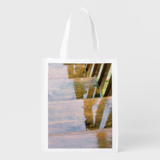 Rain Water on Wooden Stair Steps Reusable Grocery Bag