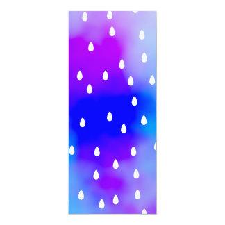 Rain with blue and purple cloudy sky. 10 cm x 24 cm invitation card