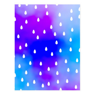 Rain with blue and purple cloudy sky. postcard