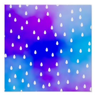 Rain with blue and purple cloudy sky posters