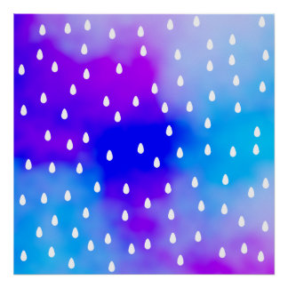 Rain with blue and purple cloudy sky. poster