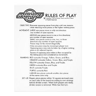RAINBO GAME RULES 21.5 CM X 28 CM FLYER