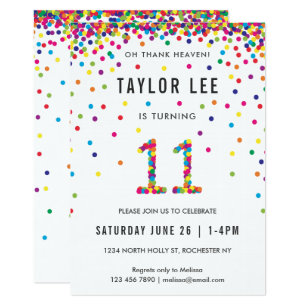 Rainbow 11 Year Old Birthday Party 11th Invitation