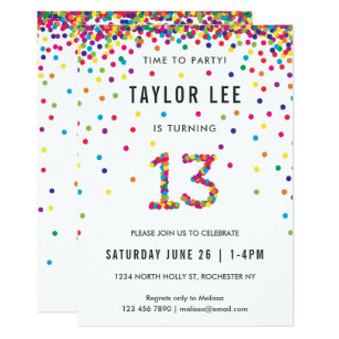 Rainbow 13 Year Old Birthday Party 13th Invitation