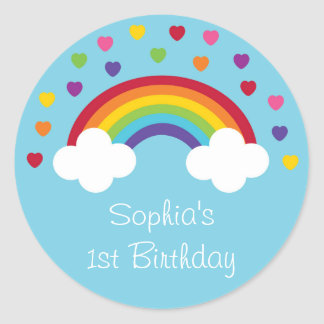 Rainbow 1st Birthday Classic Round Sticker