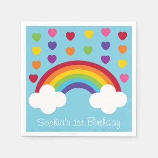 Rainbow 1st Birthday Disposable Serviettes