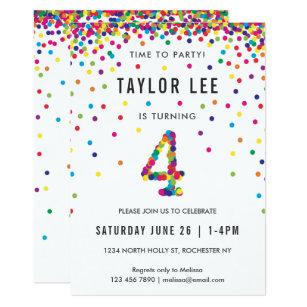 Rainbow 4 Year Old Birthday Party 4th Bday Invitation
