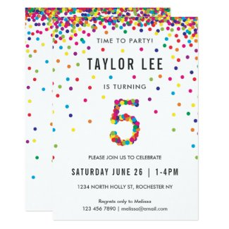Rainbow 5 Year Old Birthday Party, 5th Birthday Invitation