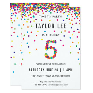 Rainbow 5 Year Old Birthday Party 5th Invitation