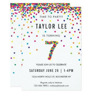 Rainbow 7 Year Old Birthday Party, 7th Birthday Card