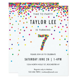 Rainbow 7 Year Old Birthday Party 7th Invitation