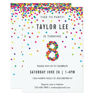 Rainbow 8 Year Old Birthday Party 8th Invitation