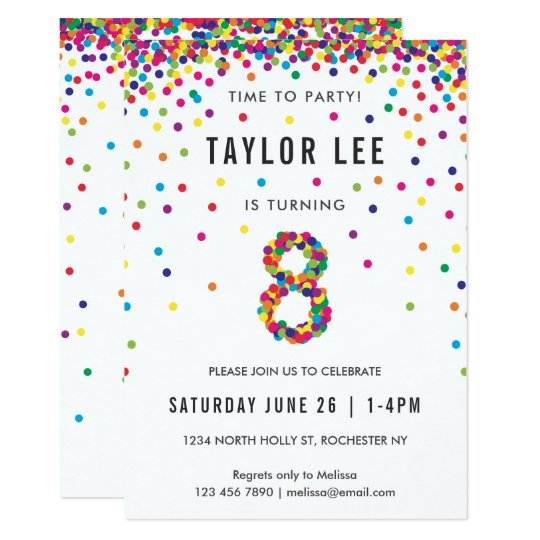 Rainbow 8 Year Old Birthday Party 8th Invitation