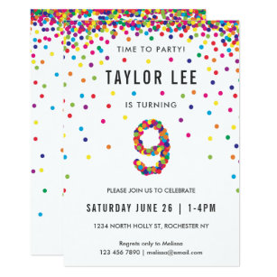 Rainbow 9 Year Old Birthday Party 9th Invitation