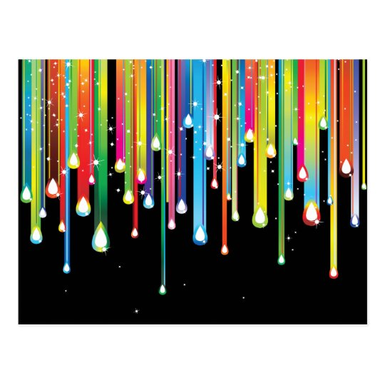 Rainbow ~ Abstract Colour Spectrum Rain Jewels Postcard
