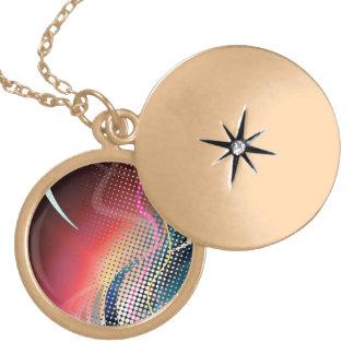 Rainbow Abstract Halftone Design Round Locket Necklace