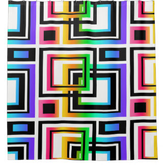 Rainbow Abstract Multicolored Modern Geometric Art Shower Curtain