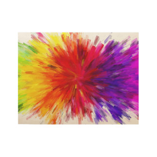 Rainbow Abstract Paint Splash Style Digital Art Wood Poster