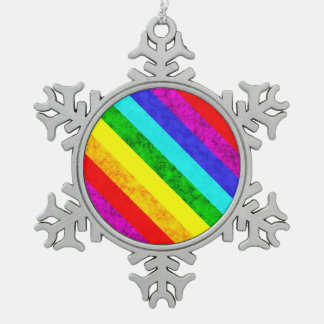 Rainbow abstract pattern snowflake pewter christmas ornament