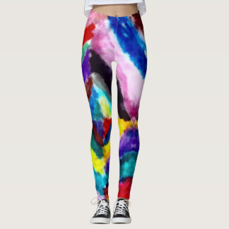 Rainbow Acid Watercolor Tie-dye Workout Leggings