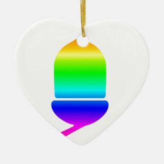 Rainbow Acorn Ceramic Heart Decoration