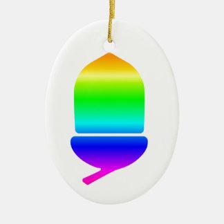 Rainbow Acorn Ceramic Oval Decoration