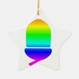 Rainbow Acorn Ceramic Star Decoration