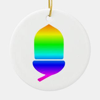 Rainbow Acorn Round Ceramic Decoration