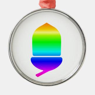 Rainbow Acorn Silver-Colored Round Decoration