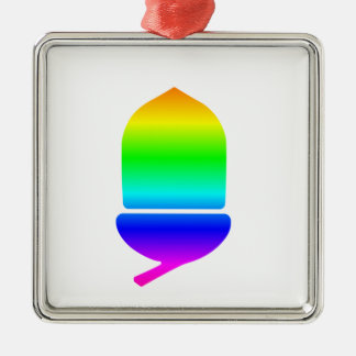 Rainbow Acorn Silver-Colored Square Decoration