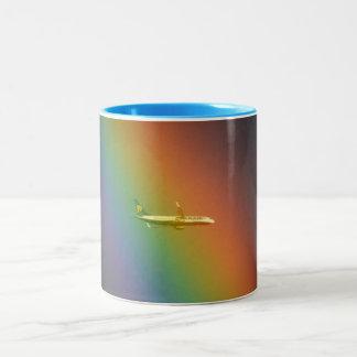 Rainbow Aircraft Two-Tone Coffee Mug