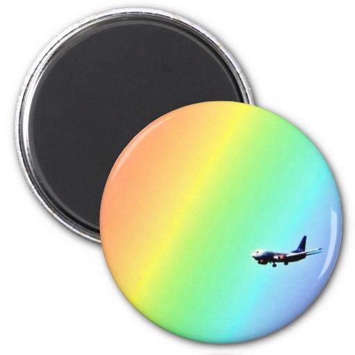 Rainbow airplane magnet