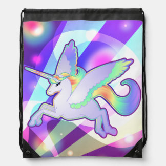 Rainbow Alicorn Drawstring Bag