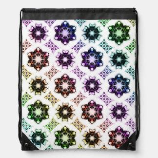 Rainbow Alien Eye Fractal Art Pattern Drawstring Backpacks