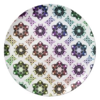 Rainbow Alien Eye Fractal Art Pattern Plates