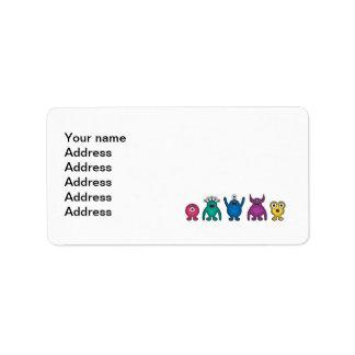 Rainbow Alien Monsters Label