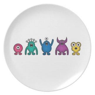 Rainbow Alien Monsters Plate