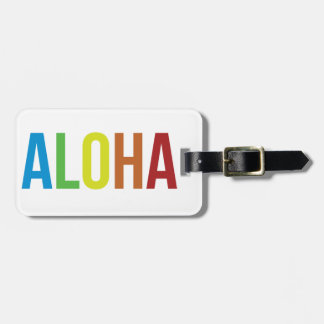 Rainbow Aloha Luggage Tag