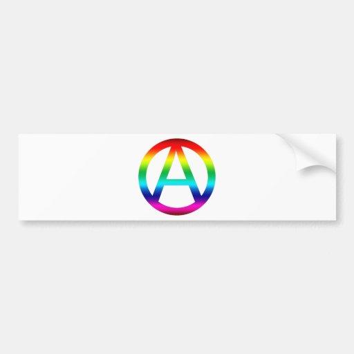 Rainbow Anarchy Symbol Bumper Sticker
