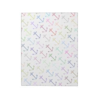 Rainbow anchor pattern notepad