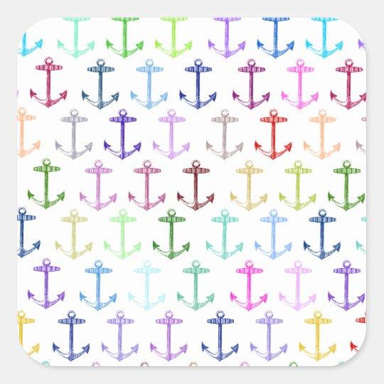 Rainbow anchor pattern square sticker