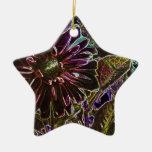 Rainbow and Black Dahlia Ceramic Star Decoration