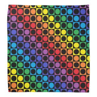 Rainbow and Black Squares and Polka Dots Bandana