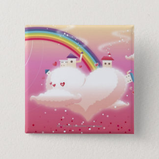 Rainbow and buildings on clouds 15 cm square badge