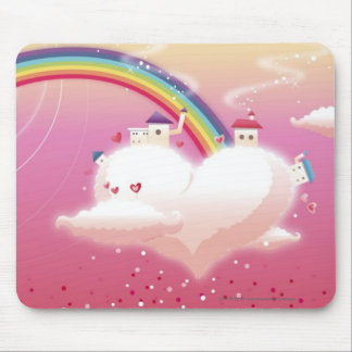 Rainbow and buildings on clouds mouse mat